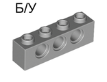 ! Б/У - Technic, Brick 1 x 4 with Holes, Light Bluish Gray (3701 / 4211441) - Б/У