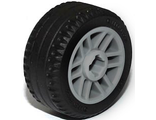 Wheel 14mm D. x 9.9mm with Center Groove, Fake Bolts and 6 Spokes with Black Tire 21 X 9.9  11208 / 11209 , Light Bluish Gray (11208c01)