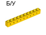 ! Б/У - Technic, Brick 1 x 10 with Holes, Yellow (2730 / 4225500 / 4251460) - Б/У