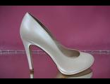 Свадебные туфли кожа айвори бежевые перламутровые на платформе высокй каблук купит магазин интернет