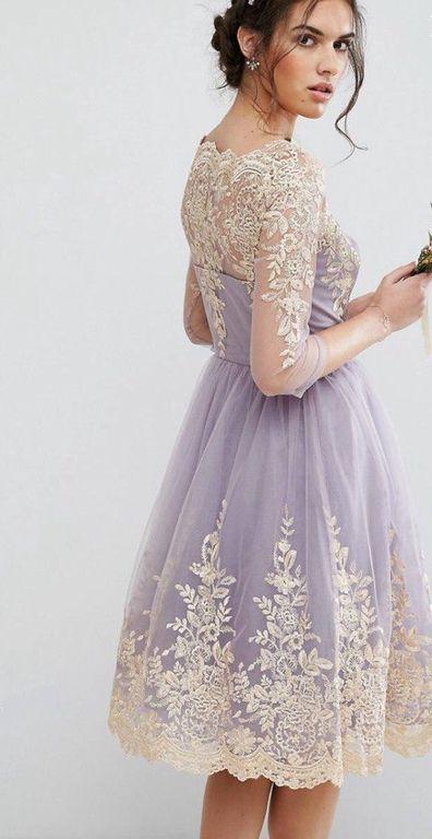 7efc7c4b268 Лавандовое вечернее пышное выпускное платье до колена с золотой вышивкой с  рукавами 3 4