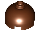 Brick, Round 2 x 2 Dome Top - Hollow Stud with Bottom Axle Holder x Shape + Orientation, Reddish Brown (553c / 6096945)