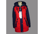 Женская весенняя куртка красно-синяя 002-089