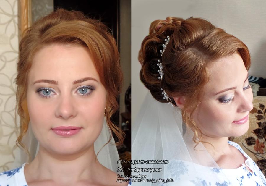 Свадебный макияж и причёска на дому