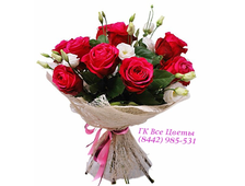 9 роз с белой эустомой