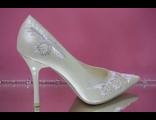 Свадебные туфли айвори острый мыс кожаные классика средний шпилька каблук украшены стразами купить