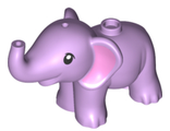 Elephant, Friends, Baby with Bright Pink Ears Pattern, Lavender (67410pb01 / 6301609)