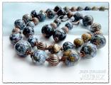 Купить комплект украшений. Украшения из натуральных камней. Колье и серьги из океанического агата.