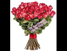Букет бордовых роз 67 темно бордовых роз