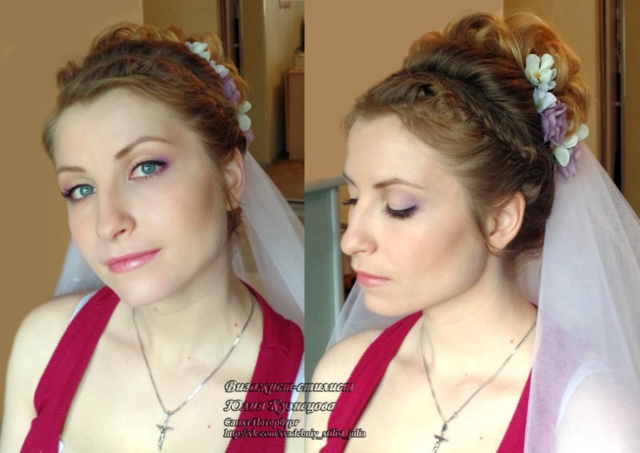 Прическа и макияж на дом на свадьбу недорого