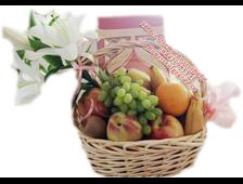 Цветы-конфтеты-фрукты в подарочной корзине