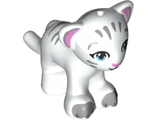 Lion / Tiger, Friends / Elves, Baby Cub with Bright Light Blue Eyes, Bright Pink Nose, Light Bluish Gray Paws and Stripes Pattern, White (14734pb04 / 6296649)