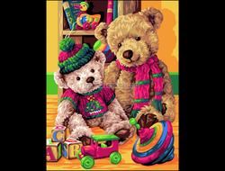 Картина раскраска по номерам Медвежата