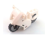 Motorcycle City, Complete Assembly with Black Chassis (Long Fairing Mounts) and Light Bluish Gray Wheels, White (52035c02)