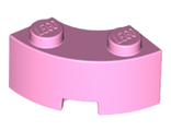 Brick, Round Corner 2 x 2 Macaroni with Stud Notch and Reinforced Underside, Bright Pink (85080 / 6022039)