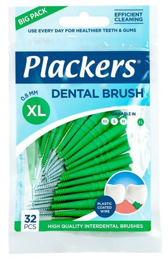 Межзубные ершики Dental Brush XL, 0,8 мм, зеленые, Plackers,  32 шт.