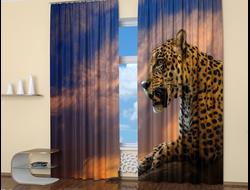 Фотошторы для спальни: Опасный леопард