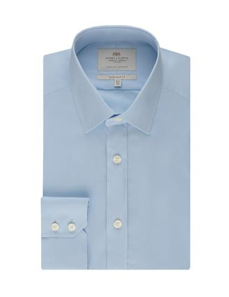 Рубашка Hawes & Curtis Men's Men's Formal Blue Poplin Slim Fit Shirt - Single Cuff - Easy Iron