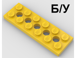 ! Б/У - Technic, Plate 2 x 6 with 5 Holes, Yellow (32001 / 4107750 / 6038194) - Б/У