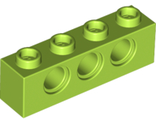 Technic, Brick 1 x 4 with Holes, Lime (3701 / 6132373)