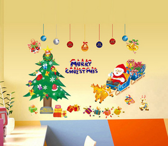 Наклейка 'Дед Мороз на санях'