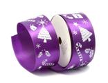 Лента атласная НОВОГОДНЯЯ 4 см, цвет фиолетовый на метраж