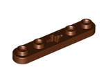Technic, Plate 1 x 5 with Smooth Ends, 4 Studs and Center Axle Hole, Reddish Brown (32124 / 6035580)