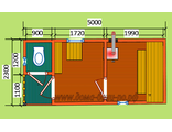 """Схема готовой  бани - размером 5 х 2,3 метра с крыльцом и туалетом. Печь """"Валдай"""" труба выход в стен"""