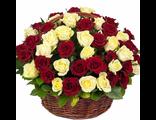 Корзина 51 роза красная/белая