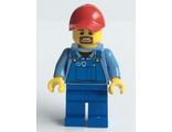Overalls with Tools in Pocket Blue, Red Cap with Hole, Brown Moustache and Goatee, n/a (cty0570)