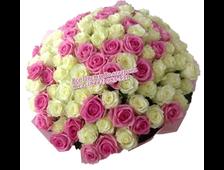 Букет Розовая Ваниль из 101 розы
