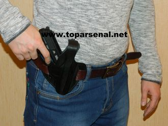 Russian authentic leather belt wide holster PM, MP-654K, Makarov, Walther PPK BLACK