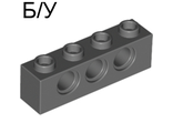 ! Б/У - Technic, Brick 1 x 4 with Holes, Dark Bluish Gray (3701 / 4213607) - Б/У