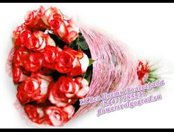 23 розы букетом Нежное пламя