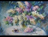 "Круглова Светлана. ""Чай в сиреневом саду"",  холст / масло, 50 х 70 см.,  2016 г."