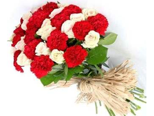 Букет из белых роз 15 шт и красных Гвоздик 16 штук