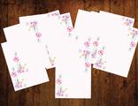 """Бумага для писем 10 листов """"Акварельные цветы"""""""