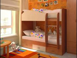 Кровать Море двухъярусная с ящиками (без матраса)
