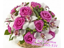 Шикарная корзина розы и орхидея