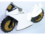 Motorcycle Sport Bike Complete Assembly with Black Windshield with Gold Badge Pattern and Pearl Gold Wheels, White (18895c05pb01)