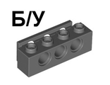 ! Б/У - Technic, Brick 1 x 4 with Bumper Holder, Dark Bluish Gray (2989 / 4295397) - Б/У