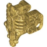 Bionicle Armor Uniter with 2 Pin Holes on Front, Axle and Pin Holes on Sides, Pearl Gold (24191 / 6135190)