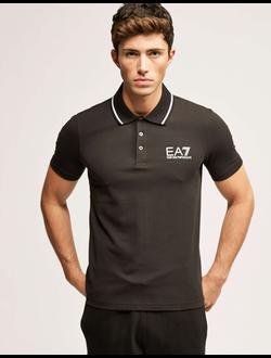 Поло EA7 Emporio Armani однотонная с логотипом, цвет темно-серый