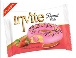 Пончик Invite Donut Strawberry, 40гр.