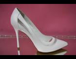Белые свадебные туфли острый мыс коллекция 2016 года на высоком каблуке шпилька кожаные украшены декором прозрачной сеткой № 2407-453=453