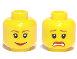 Minifig, Head Dual Sided Female Brown Eyebrows, Scared / Smile Pattern - Blocked Open Stud, Yellow (3626bpb0271 / 4506830)
