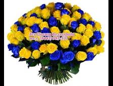 Розы синие с желтыми розами букетом Яркие Небеса