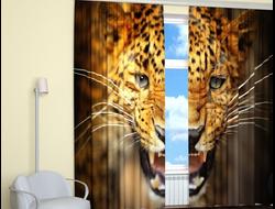 Шторы 3D: Грозный леопард