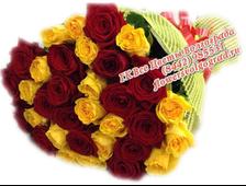 Букет из 33 красной и желтой розы