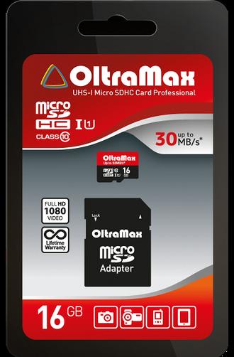 Карта памяти OltraMax 16GB microSDHC Class 10 UHS-1 с адаптером SD